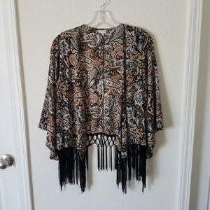En Creme Paisley Fringe Kimono